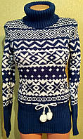 Модный женский теплый свитер.