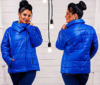 Женская куртка ткань плащевка на синтепоне большого размера до 52  ярко-синяя, фото 1