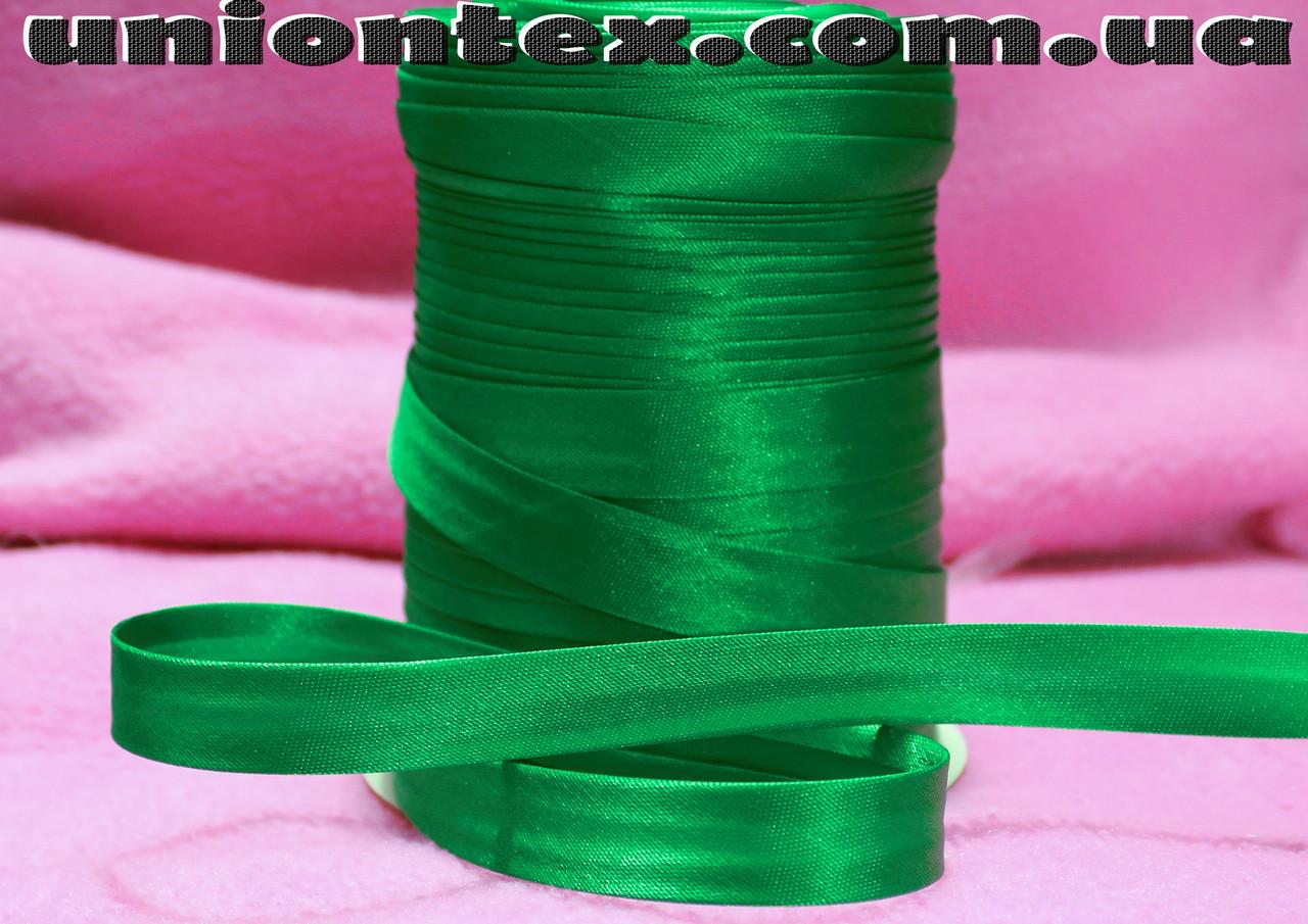 Косая бейка атласная зеленая