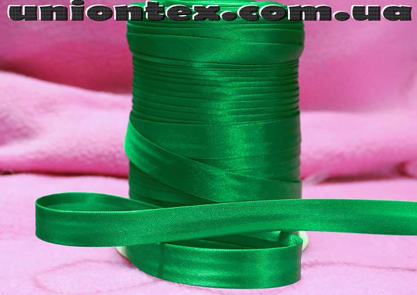 Косая бейка атласная зеленая, фото 2