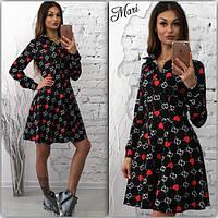 Женкое модное принтованное платье-рубашка с юбкой-солнце