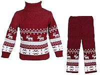 """Теплый вязанный костюм """"Олени"""" (штаны+свитер) для девочки, цвет бордовый"""
