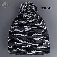Шапка (зимняя, с помпоном) Staff - Art. KS0048 (чёрный \ тёмно-серый \ белый)