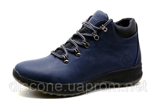 Ботинки мужские Timberland, зимние, на меху, натуральная кожа, синие