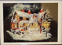 Новогодняя картина сувенир со стразами Зимний вечер
