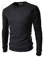Мужской трикотажный свитшот двухцветный black, темно-серый с черным, демисезонный, весна осень, кофта, свитер.