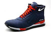 Ботинки зимние Найк Airmax, мужские, темно-синие с красным, фото 1