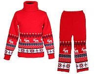"""Теплый вязанный костюм """"Олени"""" (штаны+свитер) для мальчика, цвет красный"""
