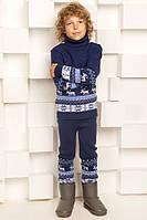 """Теплый вязанный костюм """"Олени"""" (штаны+свитер) для мальчика, цвет синий"""