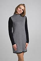 Черно-белое вязаное платье
