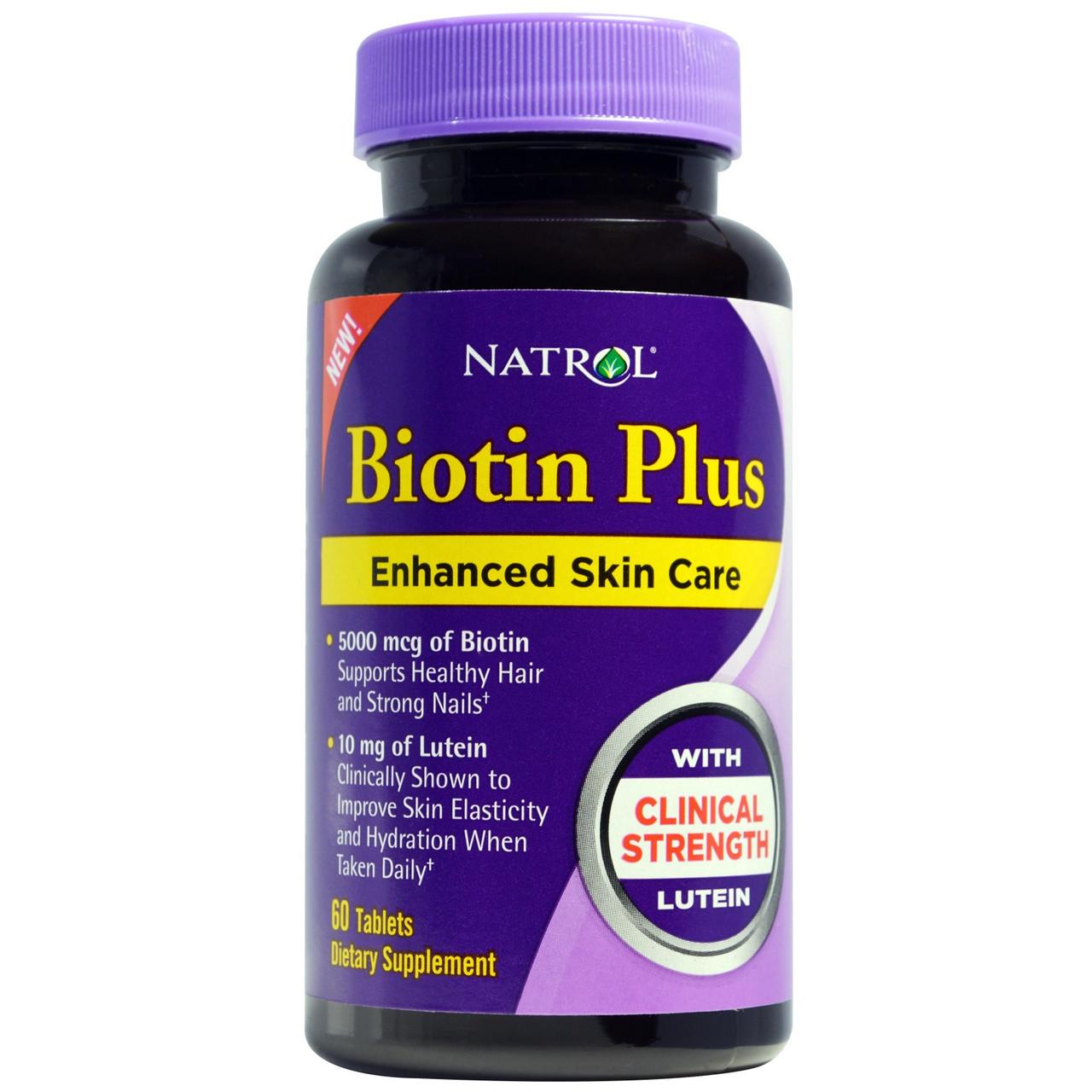 Биотин 5000 мкг Plus с лютеином, Natrol, 60 таблеток