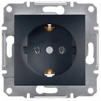 Розетка із заземленням і шторками, антрацит - Schneider Electric Asfora EPH2900271