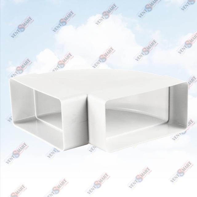 Внешний вид горизонтального отвода (колена) 90 град. для плоских (прямоугольных) пластиковых вентиляционных каналов ПЛАСТИВЕНТ производства ВЕНТС (Украина). Колено горизонтальное плоского воздуховода для вентиляции Пластивент изготовлены из пластика высокого качества, который не поддерживает горение, имеют гладкую внутреннюю поверхность, широкий диапазон температур эксплуатации ― от -30 до +70 град. Цельсия