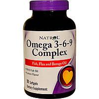 Комплекс Омега 3-6-9, Natrol, со вкусом лимона, 90 капсул
