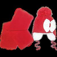 Детская вязаная шапочка на овчине, с шарфом, р. 52-54