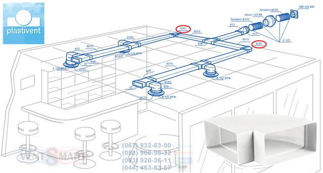 Вариант применения плоских (прямоугольных) каналов и СМЭ (колен горизонтальных, редукторов, монтажных пластин) системы ПВХ воздуховодов Пластивент для организации вытяжной вентиляции в кафе, баре, ресторане. ПВХ система ПЛАСТИВЕНТ содержит все необходимые компоненты (воздуховоды, соединители, редукторы, монтажные пластины, колена, тройники и др.) для построения современной вентиляции с долгим сроком эксплуатации