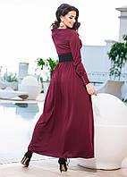 Женское трикотажное платье в пол с кожанным поясом
