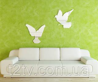 Декоративное акриловое зеркало 2 голубя