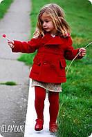 Пальто детское на девочку, Ткань кашемир,подкладка ,цвет красный, супер качество естил № 571