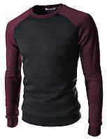 Мужской трикотажный свитшот двухцветный, темно-серый с синим, демисезонный, весна осень, кофта, свитер.