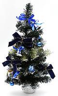 Декоративная елка в горшке (синий бант), 40см