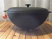 Казан чугунный толстостенный 14л с чугунной крышкой, фото 1