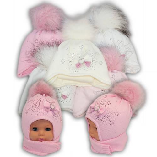 Детский комплект - шапка и шарф для девочки - i-11, Ambra (Польша), утеплитель Iso Soft