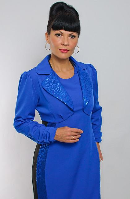 Болеро синее нарядное  длинным рукавм ( ЖК 021)