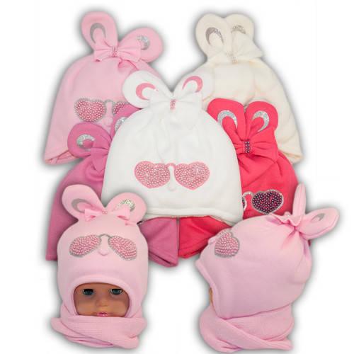 Детский комплект - шапка и шарф для девочки, Ambra (Польша), утеплитель Iso Soft, P-6
