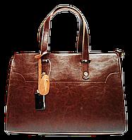 Удобная женская кожаная сумка коричневого цвета TTU-756245