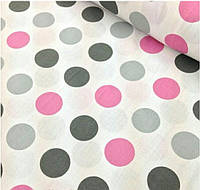 Крупный горох розовых,чёрных,серых тонов на белом фоне