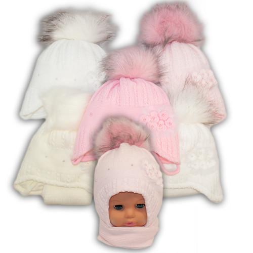 Детский комплект - шапка и шарф для девочки - i-15,  Ambra (Польша), утеплитель Iso Soft