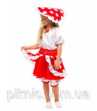 Детский костюм гриб Мухомор на праздник Осени. Карнавальный маскарадный костюм для девочки 340, фото 3