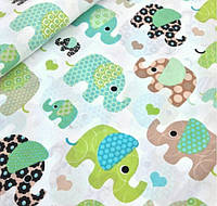 Польская ткань зелёные слоны на белом фоне