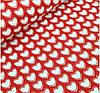 Белые сердца на красном фоне
