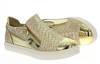 Женские стильные слипоны, золотистые  размеры 36-39