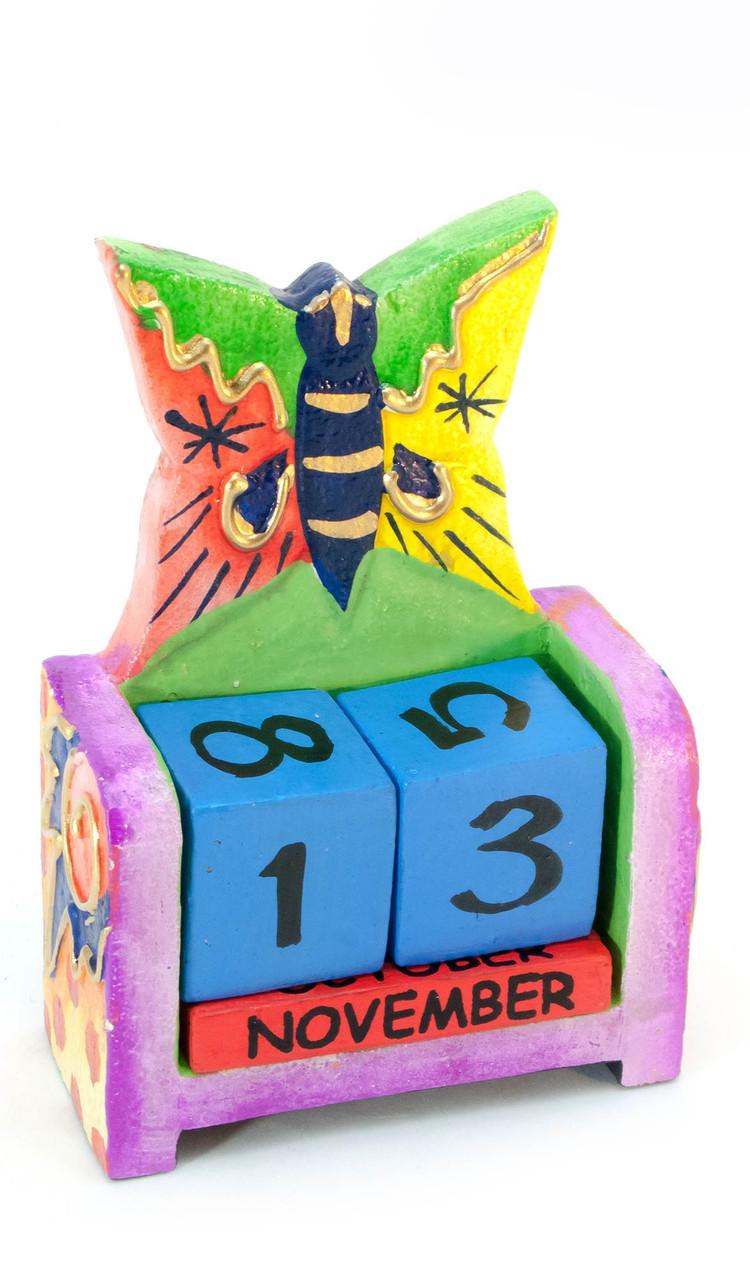 Бабочка настольный календарь дерево