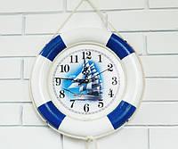 Настенные деревянные часы Спасательный круг 34 см. Ручная работа
