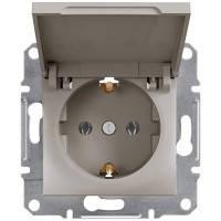 Розетка с заземлением и крышкой, бронза - Schneider Electric Asfora EPH3100169