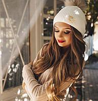 """Женская вязанная шапка с помпоном Мех 0508-6 """"Dior"""""""
