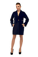 Пальто женское кашемировое осеннее Темно-синий M-163-10/1-D,магазин пальто