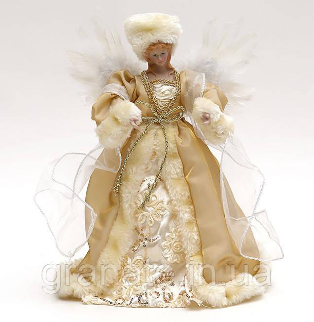 """Верхушка на ёлку """"Золотой ангел"""", новогодняя кукла  30 см"""