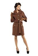 Пальто женское деми кашемировое M-160-31-D Коричневый (Мокко) -44 размер