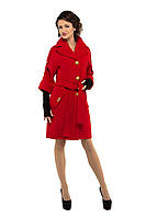 Пальто женское деми кашемировое M-160-01-D красное,магазин пальто (44 размер)