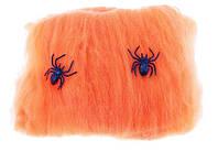 Паутина оранжевая с пауками - декор на хэллоуин!