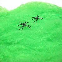 Паутина зеленая с пауками - декор на хэллоуин!