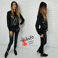 Костюм повседневный свитшот и брюки экокожа двунитка черный Df24