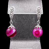 Агат розовый, серебро, серьги, фото 1