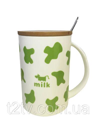 Чашка с крышкой Коровка Зеленая, 350 мл