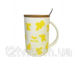 Чашка с крышкой Коровка Желтая, 350 мл